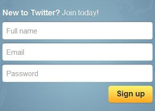 Twitter's sign-up form